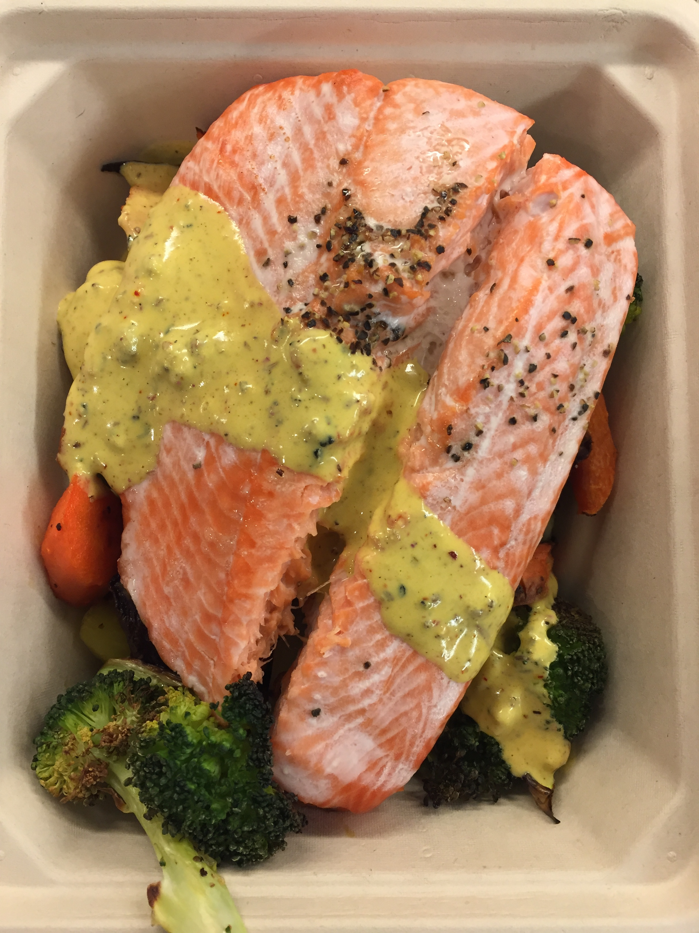 Salmon with Mustard Curry Sauce over Mixed Vegetables