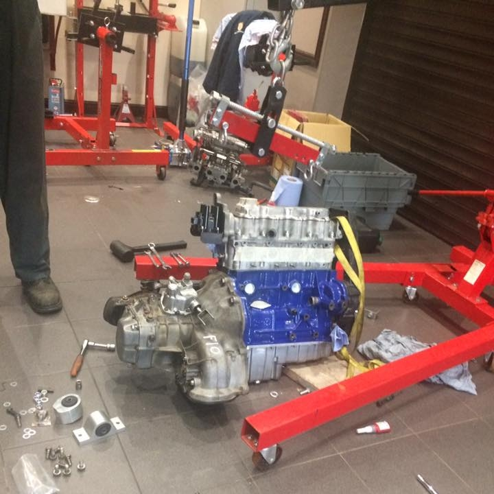 engine and gearbox ready to go in.