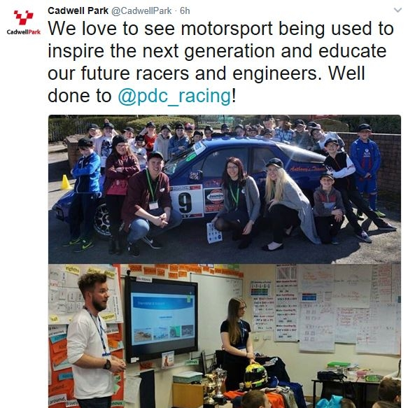 March 31, 2017  - Cadwell Twitter mentions school vist Pdc racing did