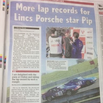 April 5, 2017  - Grimsby Telegraph coverage of Pip Hammond's race and lap record.