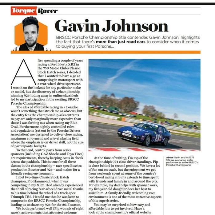 April 28, 2017 -  Ultimate Porsche magazine has an article on Gavin Johson.