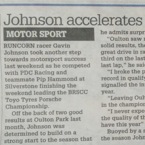 April 13, 2017 -  Gavin Johnson in his local paper.