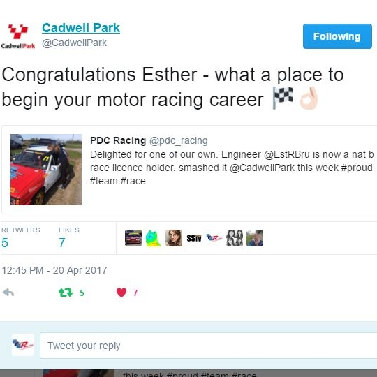 April 20, 2017 -  Cadwell twitter Congratulates Esther passing her ard test.