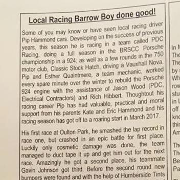 May 2, 2017 -  Barton village magazine article on local driver Pip Hammond.
