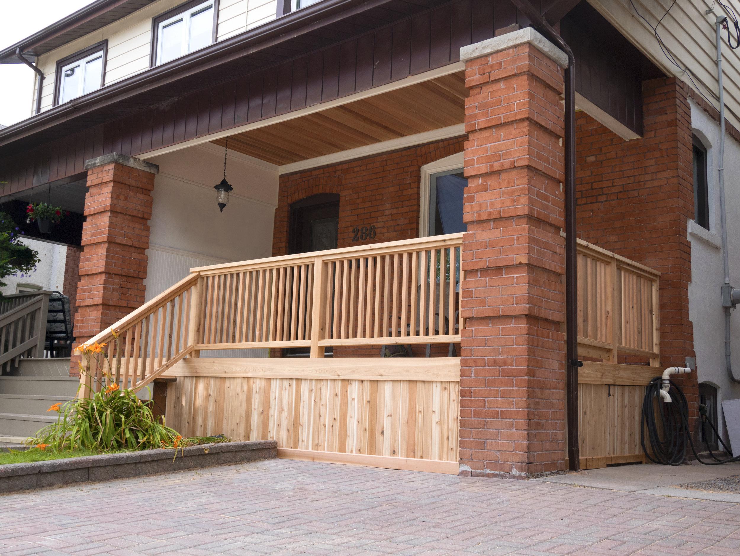 Cedar ceiling and new porch