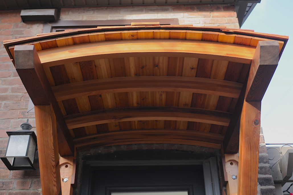 Curved cedar awning