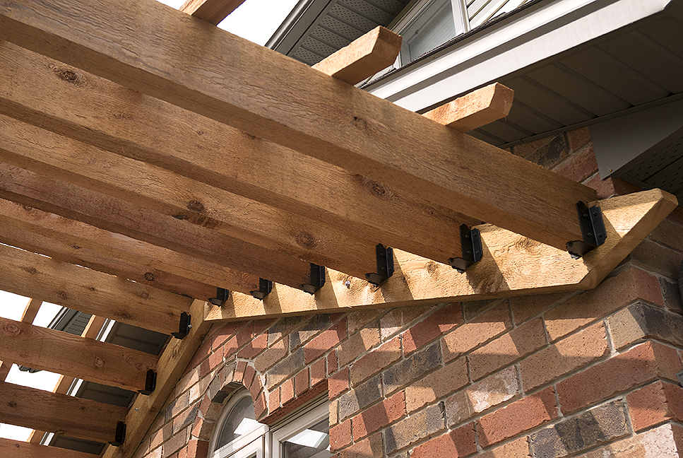 Rough-sawn cedar pergola