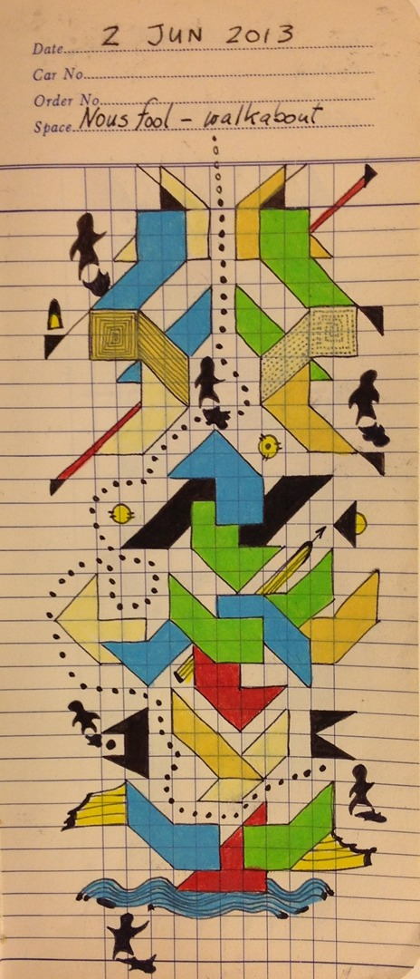 "Nous fool - walkabout     2013  ·  Pen & ink, color pencil on Drew's Lumber Checking Book grid paper  · 8""x4 """