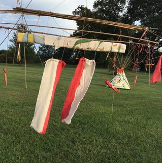 #KarmaTipi - Par Flèche Instantiation  - Freedom Park ATL  2015 ·bamboo, oil paint on canvas, rope, found wood, RIT Dye, spar varnish ·~8' x 14'