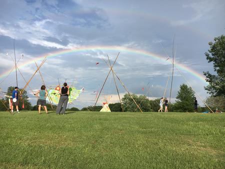 #Tipis in Freedom Park, 20 August 2016    ~250' x 150' site specific installation  ·  bamboo, oil paint on canvas, rope, found objects