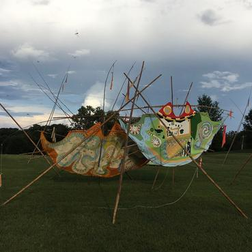 #MemoriesTipi  (2016)   &  #TalismanTipi  (2015)      Each ~10'x 15'  ·  bamboo, oil paint on canvas, rope, canvas, wood, RIT Dye, spar varnish