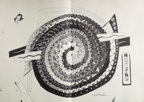 "Quantum differentiation shield   24.25"" x 30"" framed; pen & ink on double notebook paper; 2015  Exhibited in 2016,   Sense of Place   - Gertrude Herbert Institute of Art, Augusta, GA   See review"