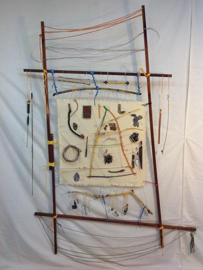 "Buckhead: Memory Map, Circa 2014PSE   2014  ·  76""x51""  ·  sapele, spar varnish, found sticks, crayon, brass & copper wire, found objects, nylon twine, RIT dye, neural communication wiring (from space worm found on Pharr Rd) and canvas"