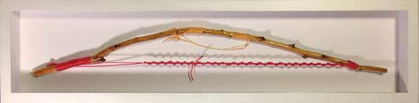 "Bow Object #4 – Long Bow   2014 · stick, spar varnish, dyed nylon · 29""x7""x2.25""   (private collection)"
