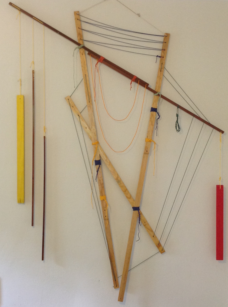 "Self-Organizing Map: framework prototype- 2nd instance   2014   ·  pine, sapele, southern cypress, spar varnish, crayon, nylon, dye  ·  86""x63"""