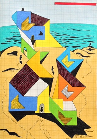 "Beach House    2013  ·  Pen & ink, color pencil on grid paper    · 11.5""x8"""