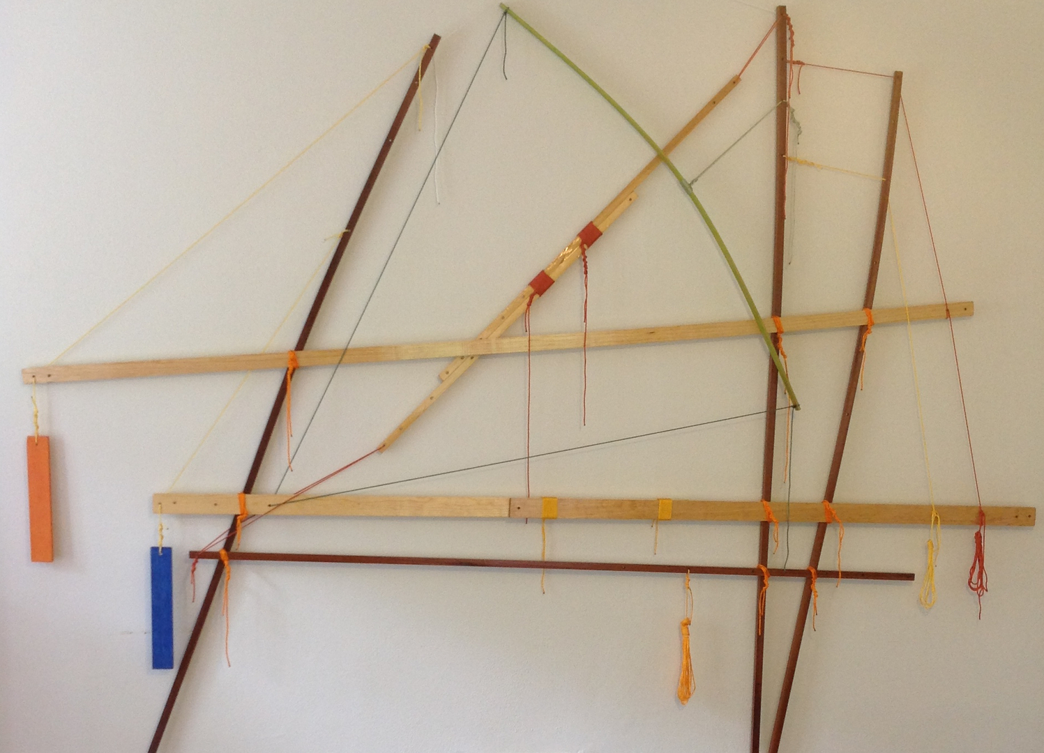 "Self-Organizing Map: framework prototype- 1st instance   2014 · pine, sapele, southern cypress, spar varnish, crayon, nylon, dye · 78""x103"""