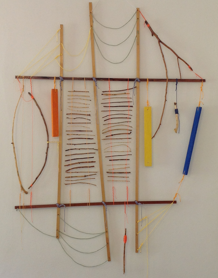 "Talisman   2014 · sticks and pine, sapele, southern cypress, spar varnish, crayon, nylon, dye · 80""x54"""