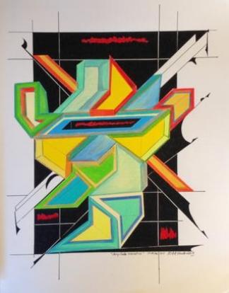 """Deep Data Narrative   201 · pen & ink, color pencil on paper · 14""""x10.5""""r"""