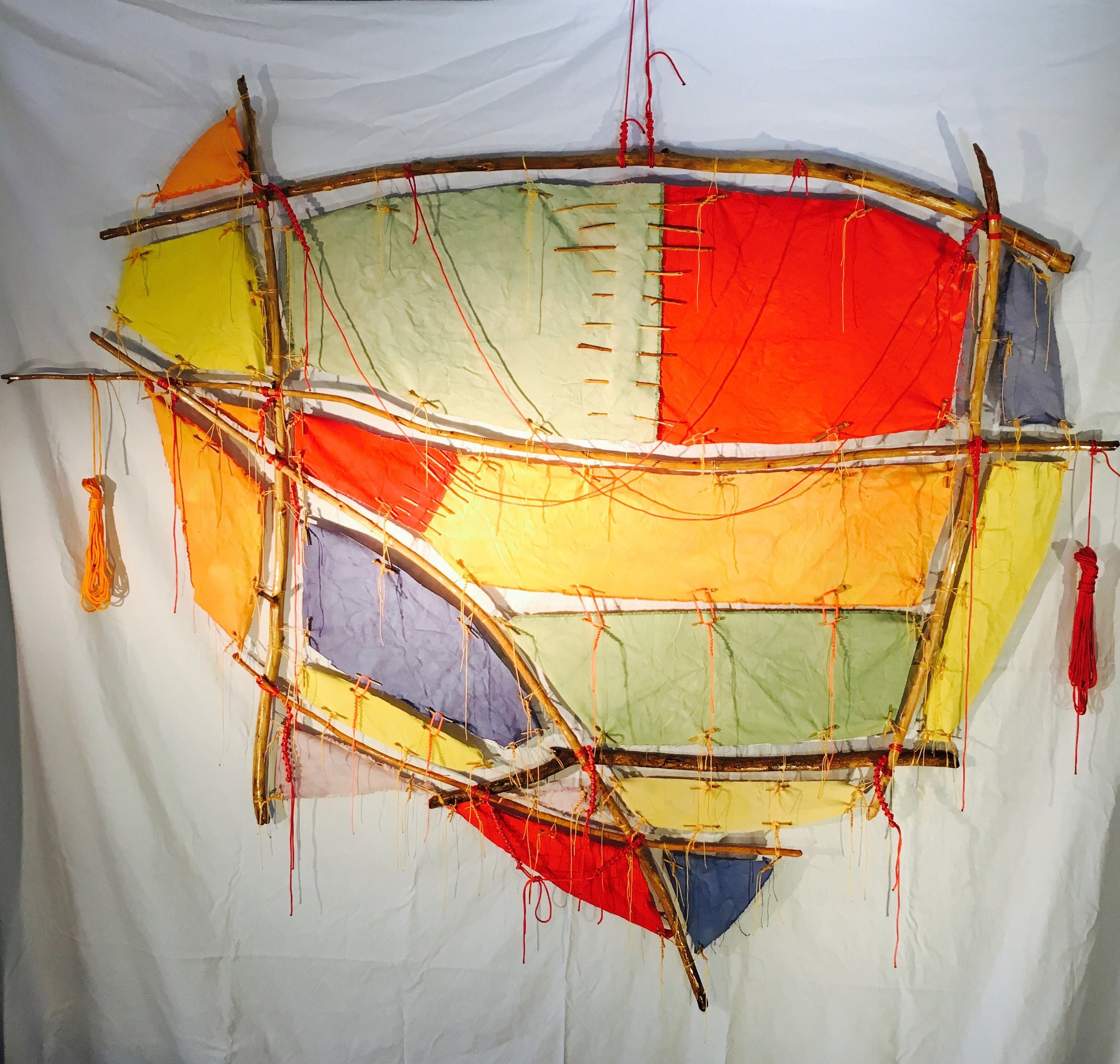 """Outbound (red right returning)   2017 · found wood, canvas, rope, string, dye, varnish · 79""""x66""""x5"""""""