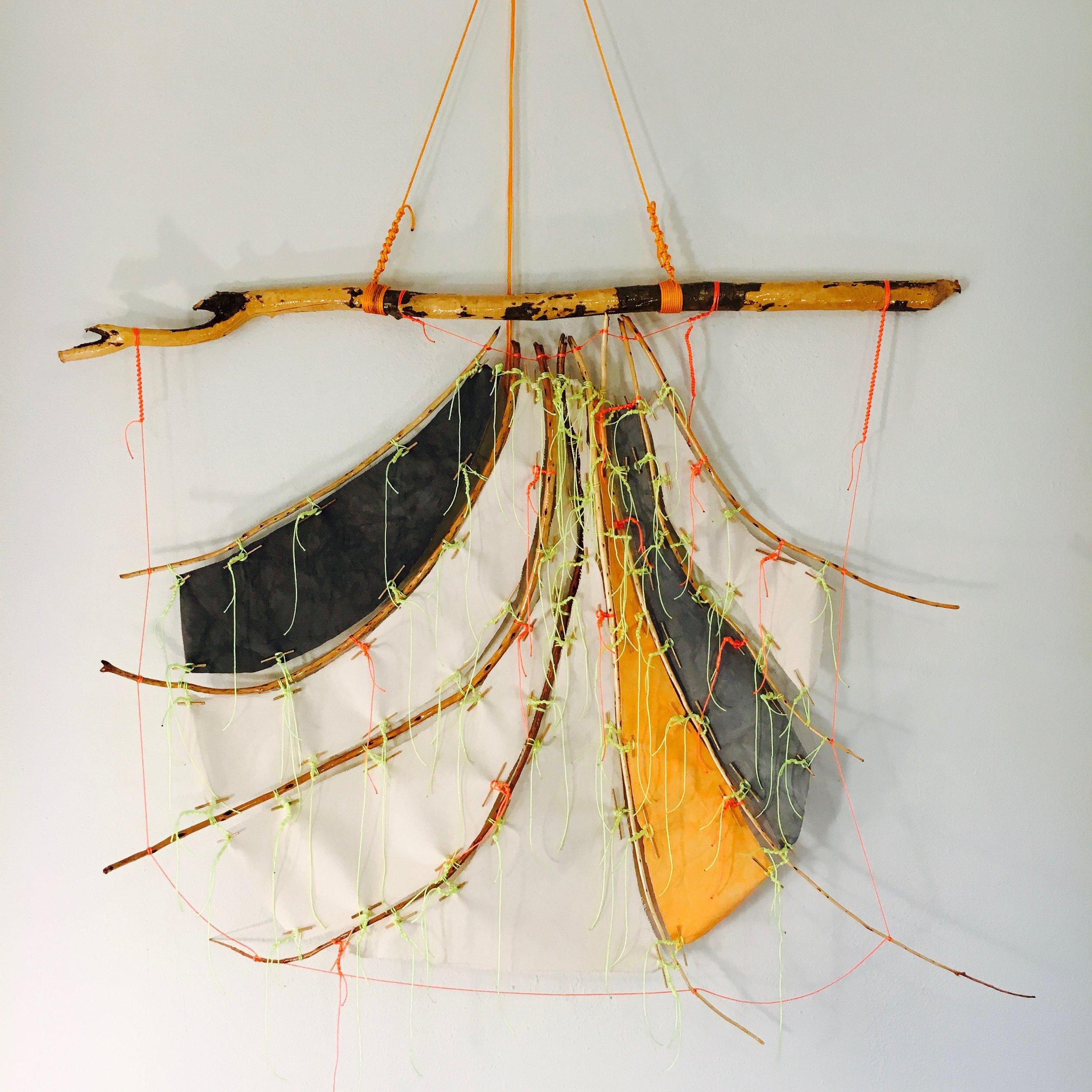 "Calabi-Yau Sail prototype   2017 · found wood, canvas, dye, string, rope, varnish · 47""x58""x8.5"""