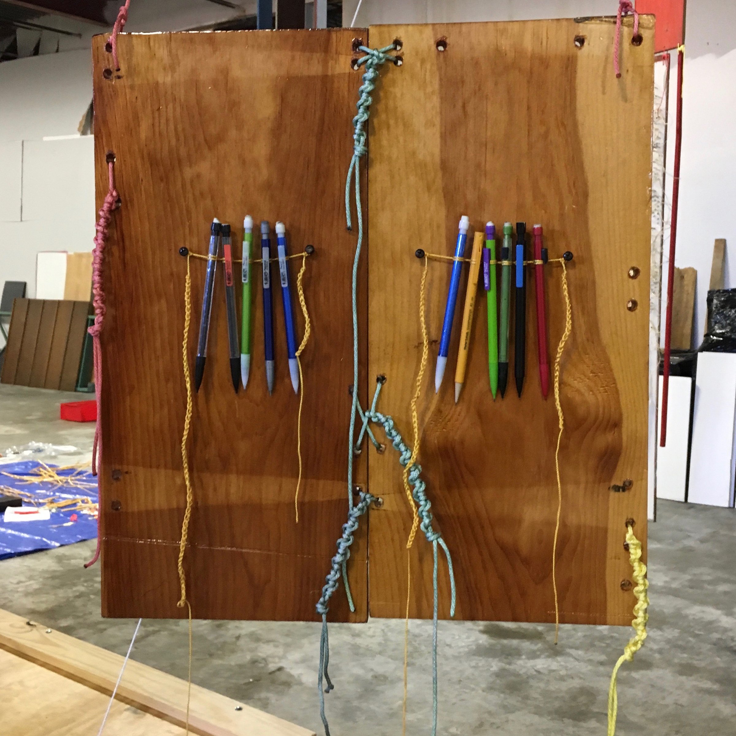 "#Granary Door - Storehouse of Knowledge   48""x18.5""x2""; found wood panels, found pencils, string, rope, dye, varnish  Exhibited 2018   Creative Explorations in Mixed Media Exhibition   - South Cobb Arts Alliance, Mable Hoouse Arts Cengter, Mableton, GA."