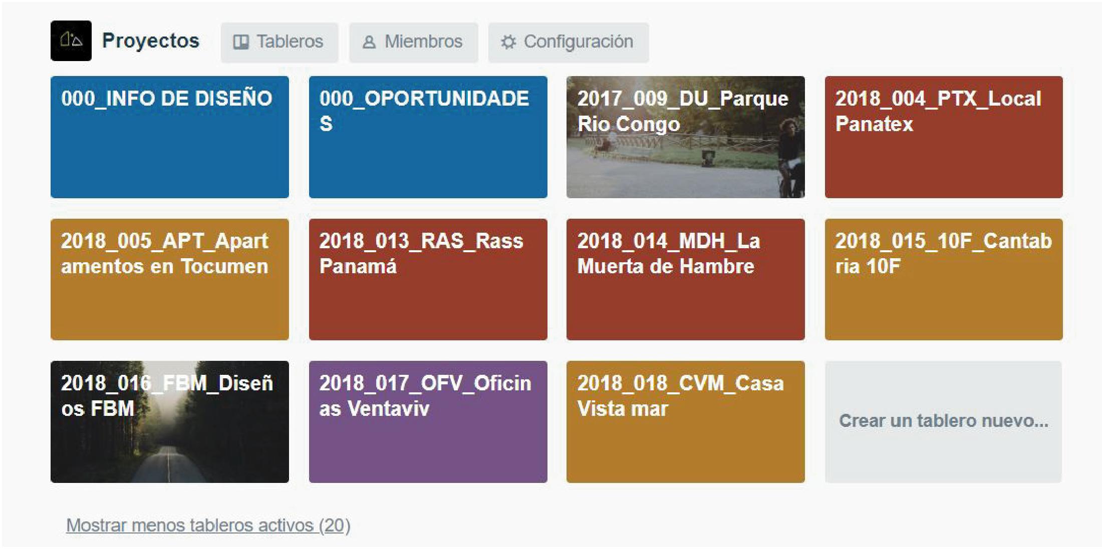 Tableros Organizados, donde cada Tablero representa un Proyecto
