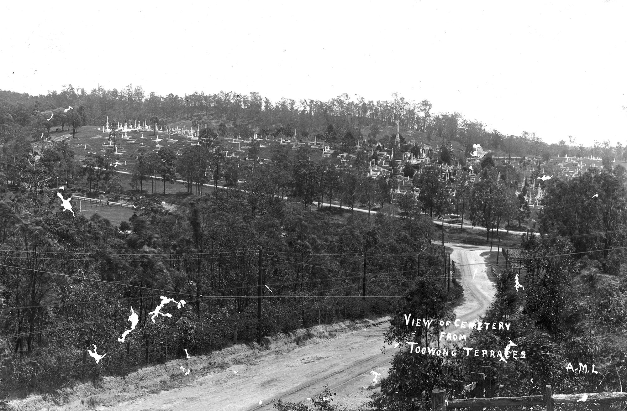View of the Toowong Cemetery, Brisbane, ca.1895. SLQ neg. 450621