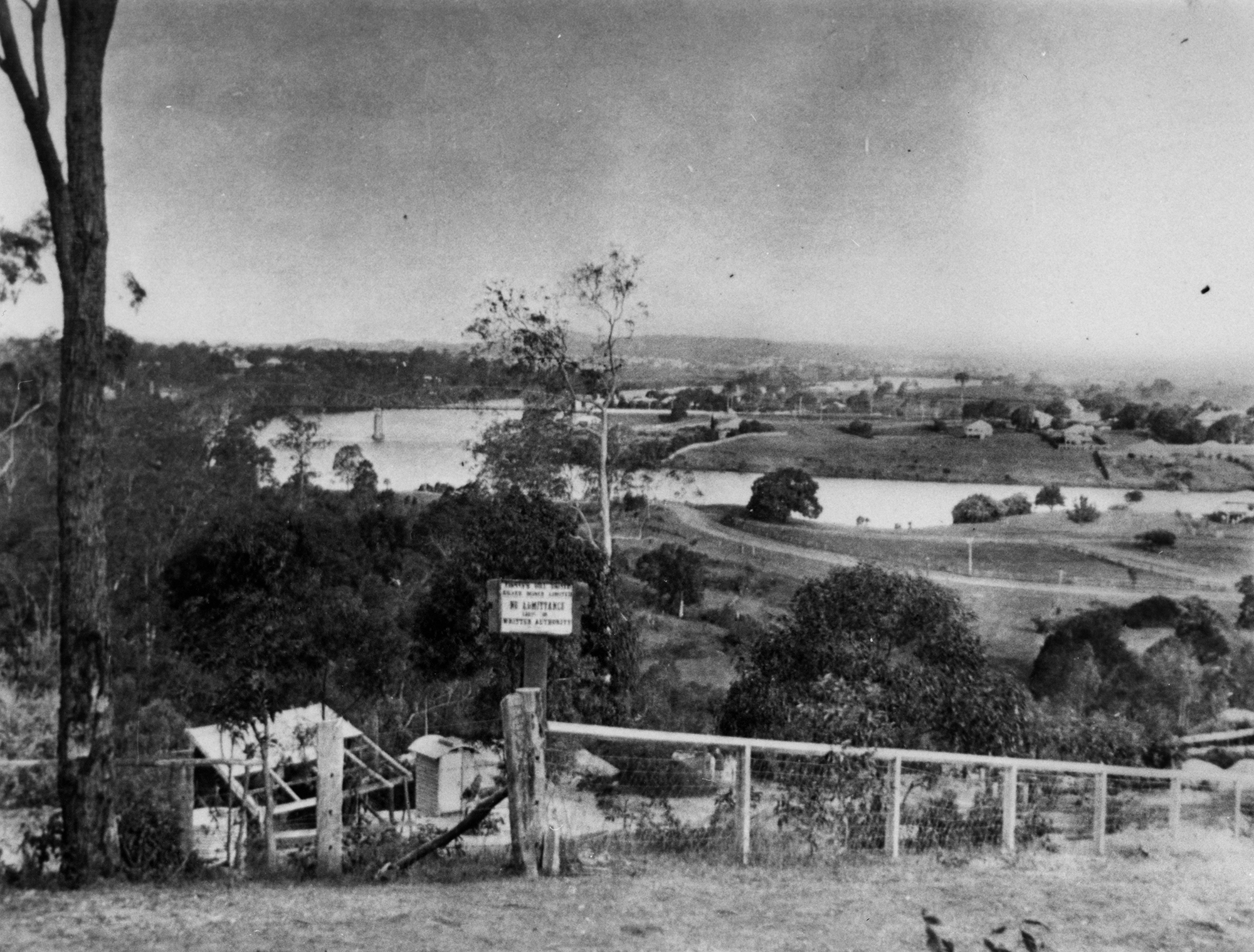 Photo courtesy of SLQ: Early view of Indooroopilly taken from Finney's Hill United Silver Mine Negative no. 80004.