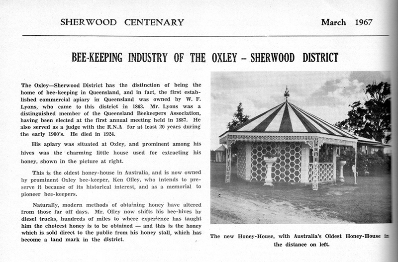 Excerpt from the Sherwood Centenary book produced in 1967. The old honey hut is back left