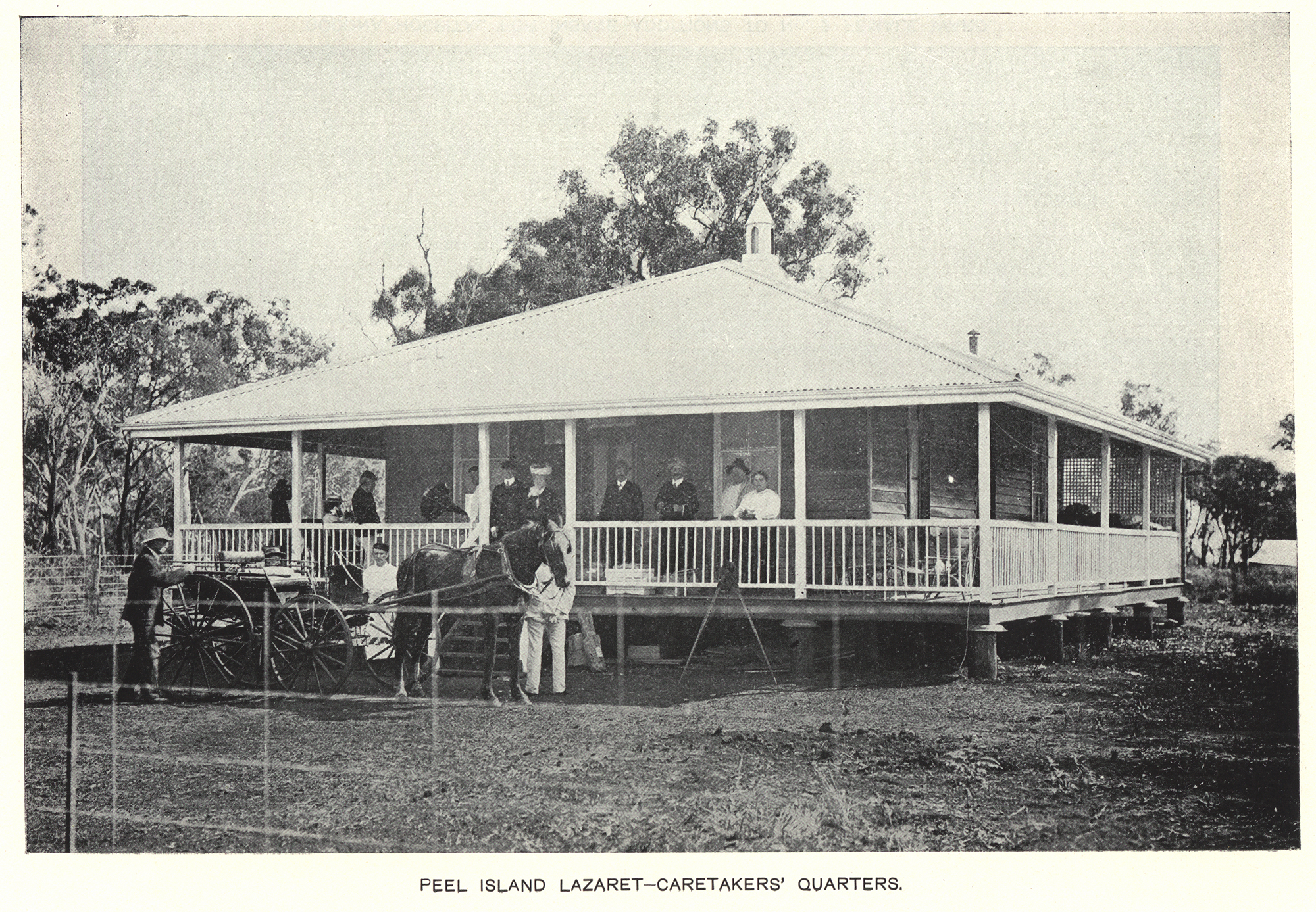 Gathering outside the Peel Island Lazeret's caretaker cottage, ca. 1913