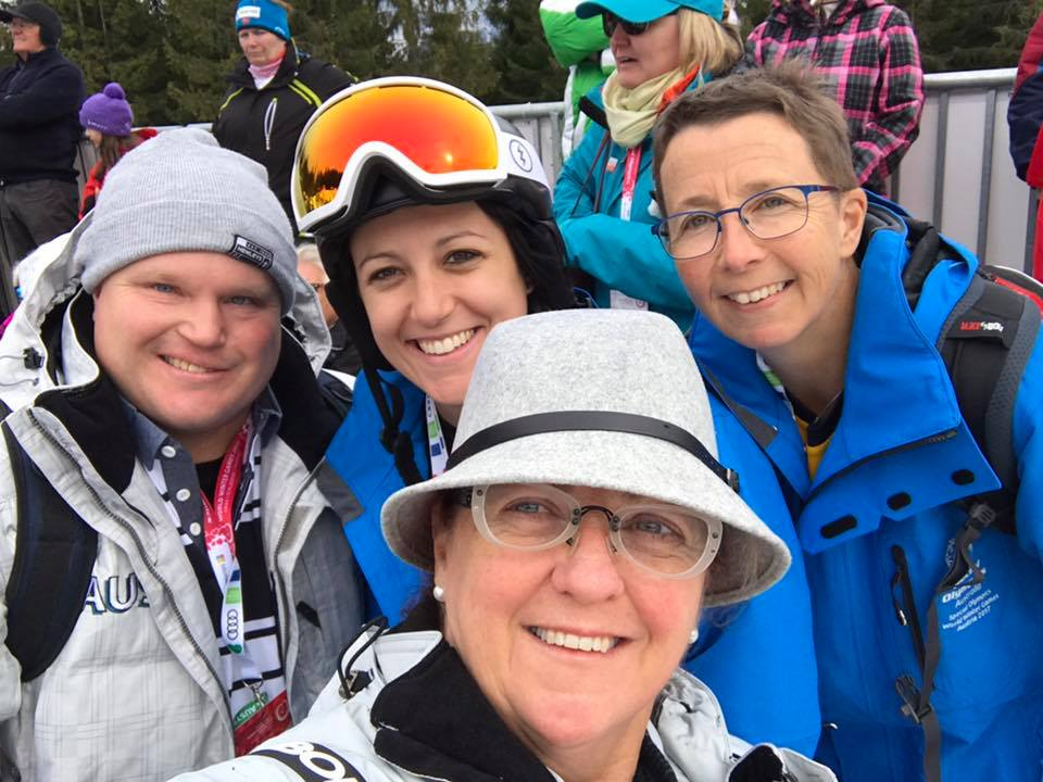 Ben Haack (left) with Susie (front centre) at the Special Olympics Schladming yesterday.
