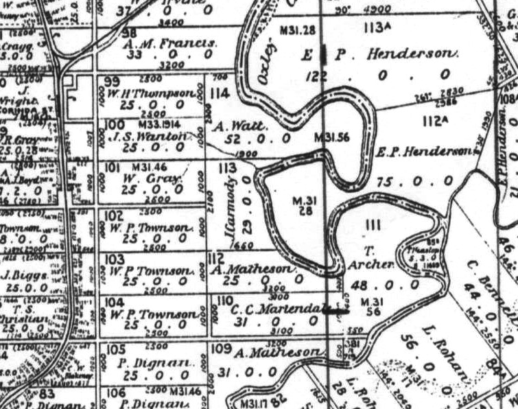Map showing location of James Carmody's land grant on Oxley Creek.