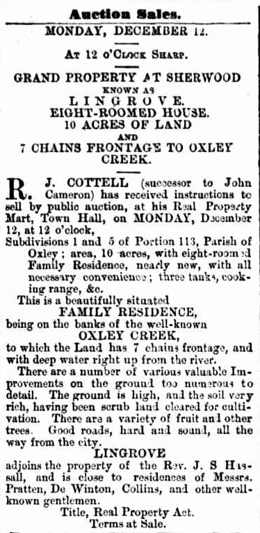 Lingrove for sale Advertising The Telegraph, 30 November 1887, p 8.png