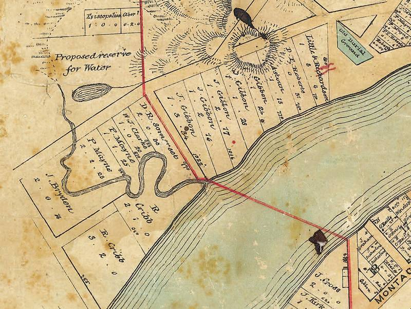 The revised town boundary is marked on red on this map dating from 1858. (Brisbane City Archives, BCA POO5).