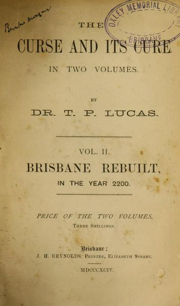 The cover of  The Curse and Its Cure  by Dr TP Lucas, John Oxley Library.