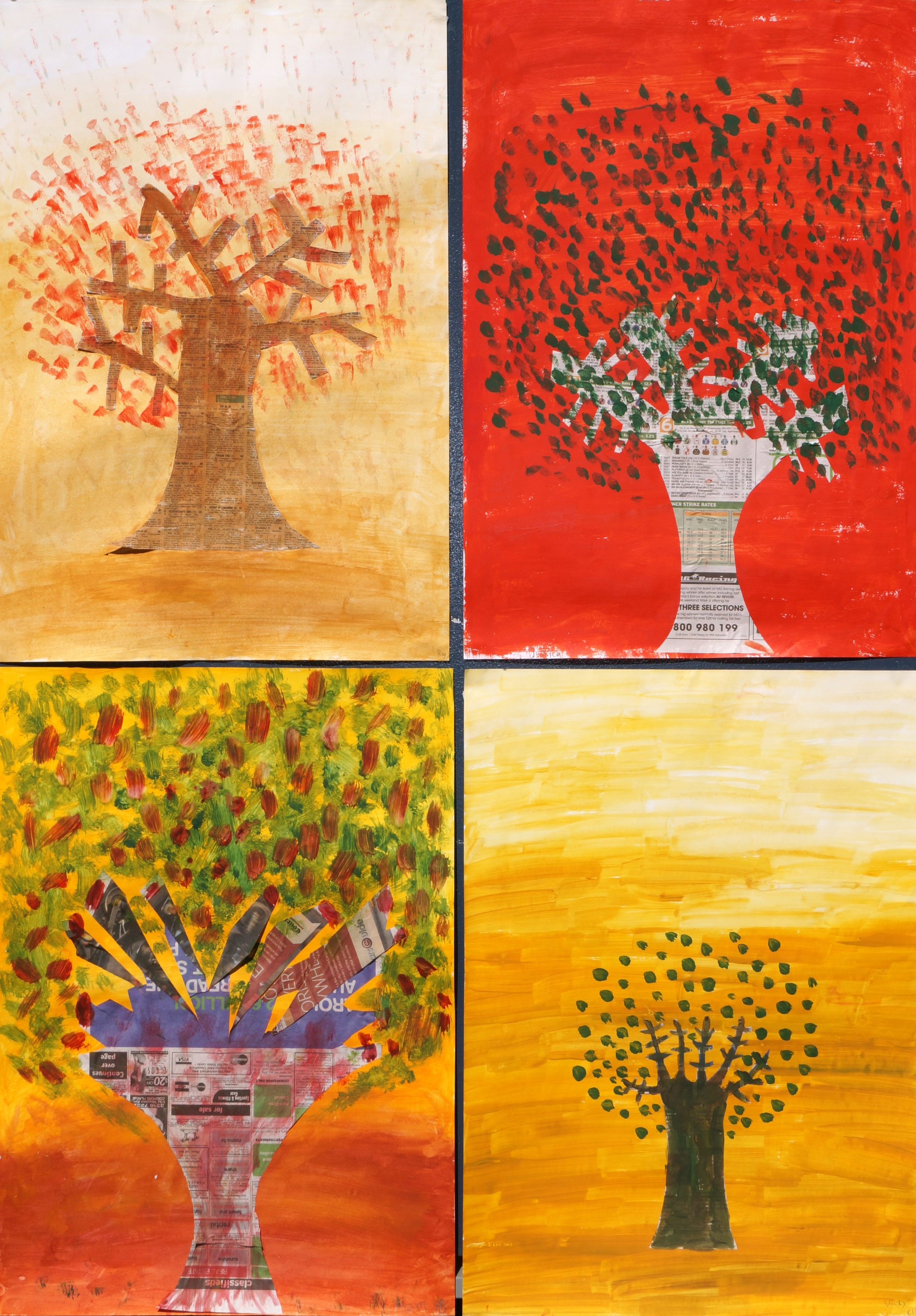 A collage of students' artwork