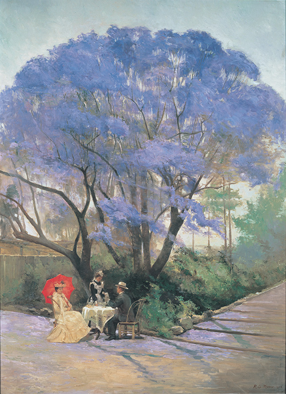 R Godfrey Rivers, England/Australia 1858–1925,  Under the jacaranda 1903 , Oil on canvas, purchased 1903, Collection: Queensland Art Gallery, reproduced here under the copyright terms stipulated by the Gallery for non-commercial use.