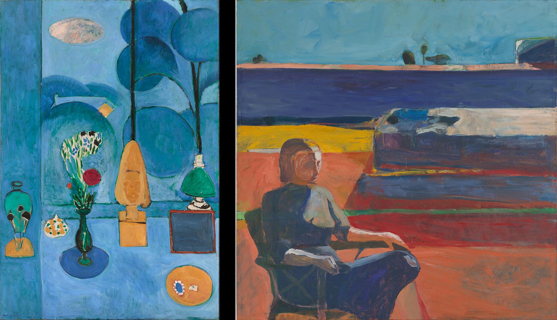Left: Henri Matisse  The Blue Window, 1913. Right: Richard Diebenkorn  Woman on a Porch, 19587