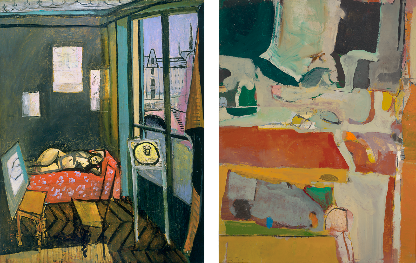 Left: Henri Matisse  Studio, Quai Saint-Michele , 1916. Right: Richard Diebenkorn  Urbana #4,  1953