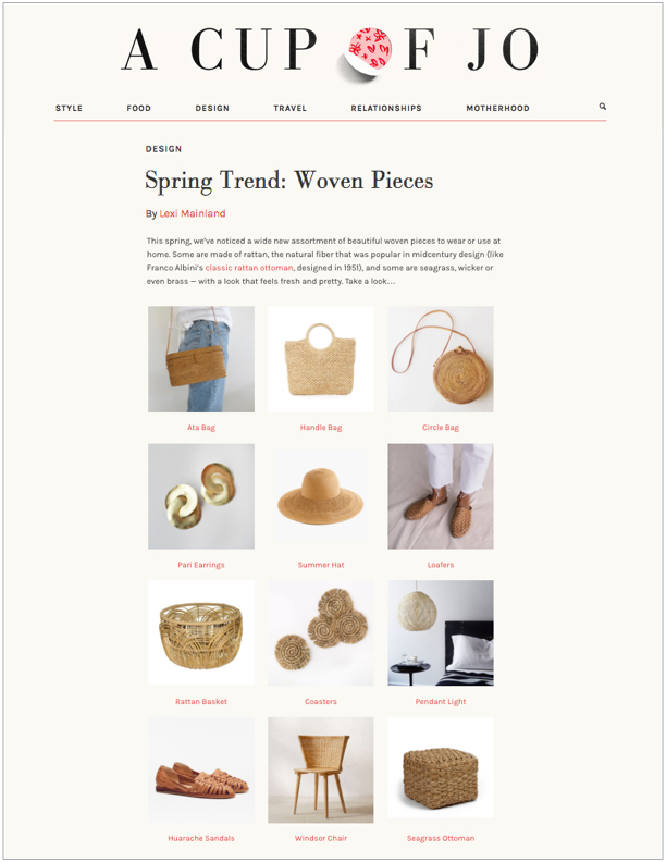 Cup of Jo,  March 21, 2017  Spring Trend: Woven Pieces