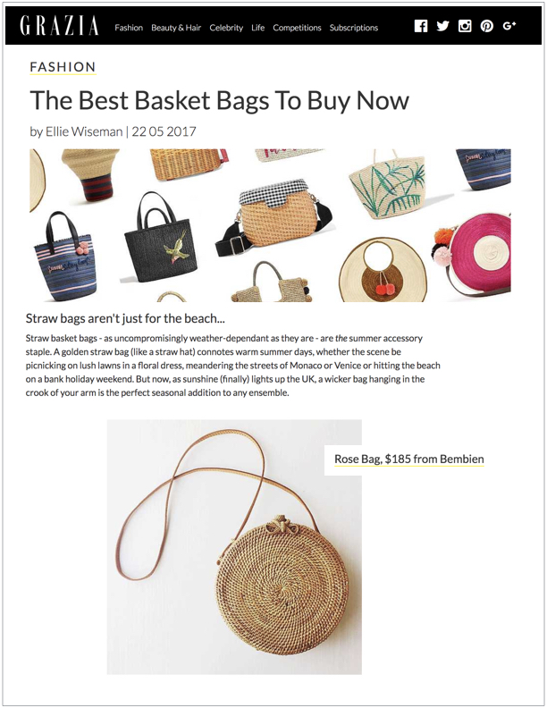 Grazia , May 22, 2017  The Best Basket Bags to Buy Now