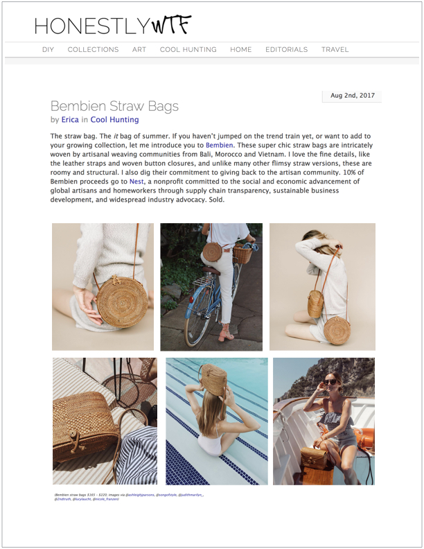 Honestly WTF , August 2, 2017  Cool Hunting: Bembien Straw Bags