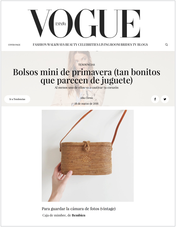 Vogue Spain,  March 18, 2018  Bolsos Mini de Primavera