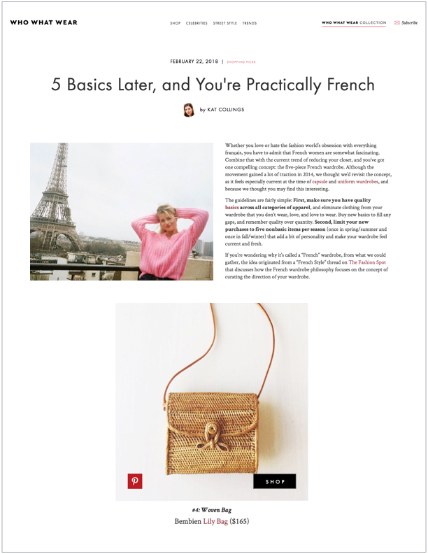 Who What Wear,  February 22, 2018  5 Basics Later, and You're Practically French