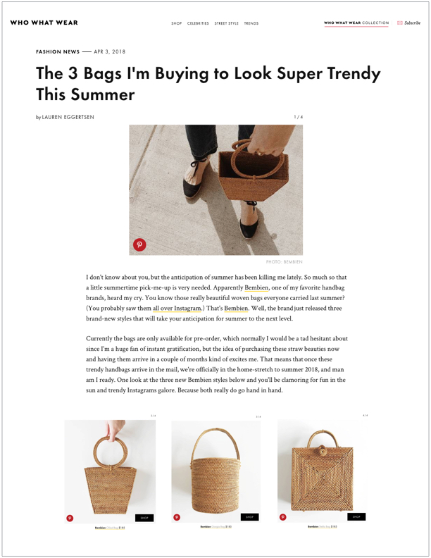 Who What Wear , April 3, 2018  The 3 Bags I'm Buying to Look Super Trendy This Summer
