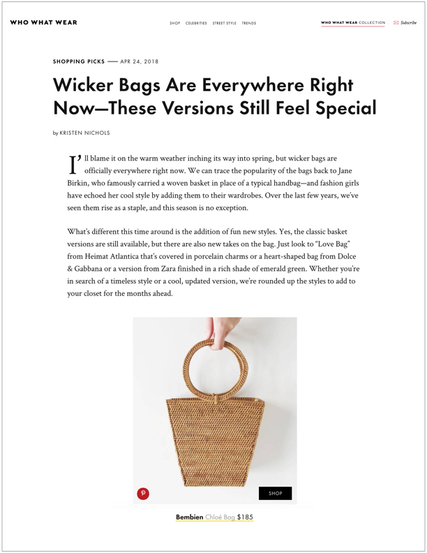 Who What Wear , April 24, 2018  Wicker Bags Are Everywhere Right Now