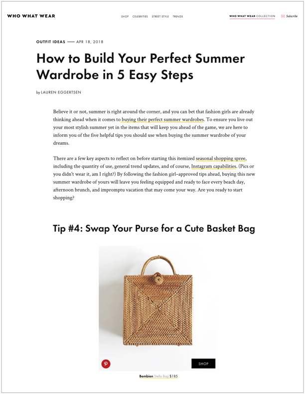 Who What Wear , April 18, 2018  How to Build Your Perfect Summer Wardrobe
