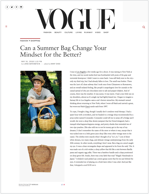 Vogue US , May 31, 2018  Can a Summer Bag Change Your Mindset for the Better?