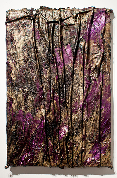 Angel Otero,  Sour Diesel,  2011.   Oil-paint skins collaged on resin-coated canvas, 38 x 27 x 2 ¾ inches.   Collection of Ellen and Steve Susman.   Image courtesy the artist and Lehmann Maupin, New York.